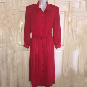 Vintage Henry Lee Shirtdress Red Pleated Belted 12